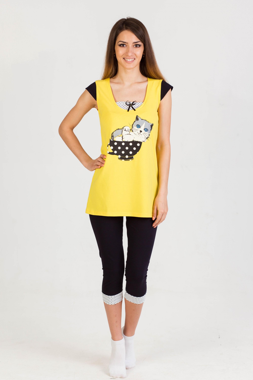 Костюм женский Уют (бриджи+туника)Домашние комплекты, костюмы<br><br><br>Размер: Желтый