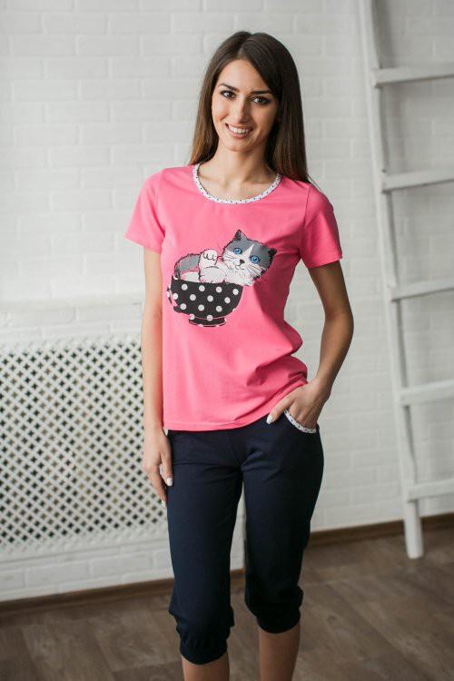Костюм женский Уют (футболка+бриджи)Домашние комплекты, костюмы<br><br><br>Размер: 42