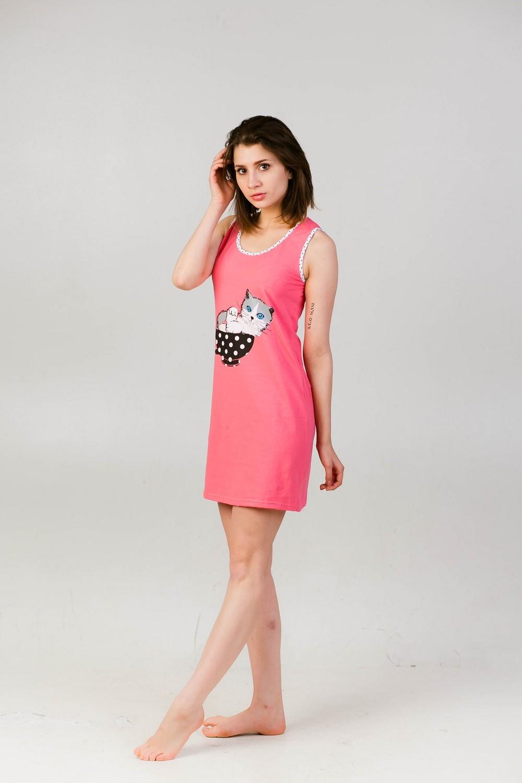 Ночная сорочка (б-рукава) Кошка-1Сорочки<br><br><br>Размер: Розовый