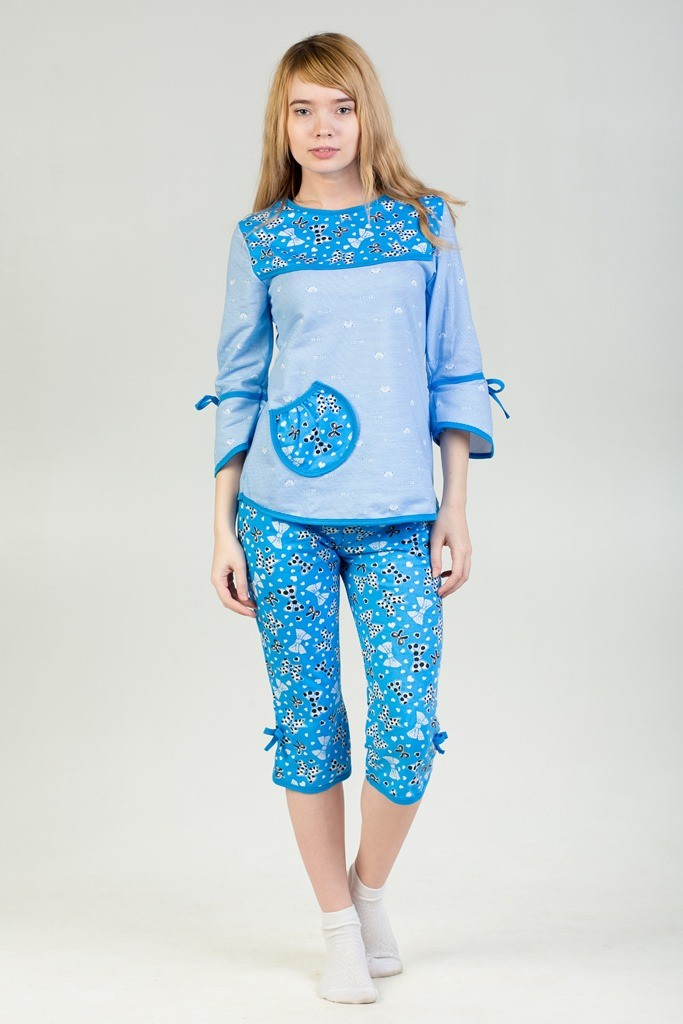 Пижама Катя Голубой БантикиДомашняя одежда<br><br><br>Размер: 58
