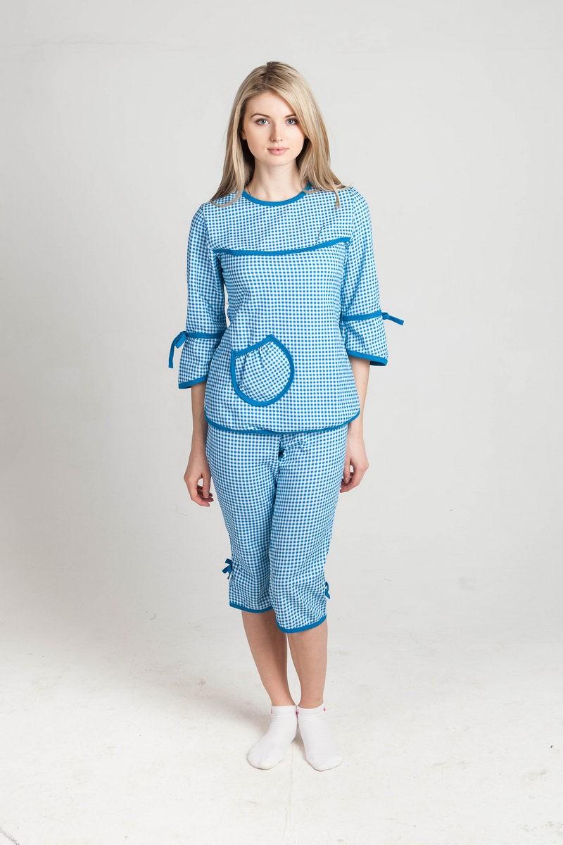 Пижама Катя Голубой-квадратикиДомашняя одежда<br><br><br>Размер: 58