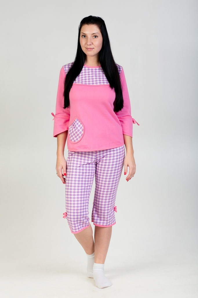 Пижама Катя Розовый Клетка кофта+бриджиДомашняя одежда<br><br><br>Размер: 46