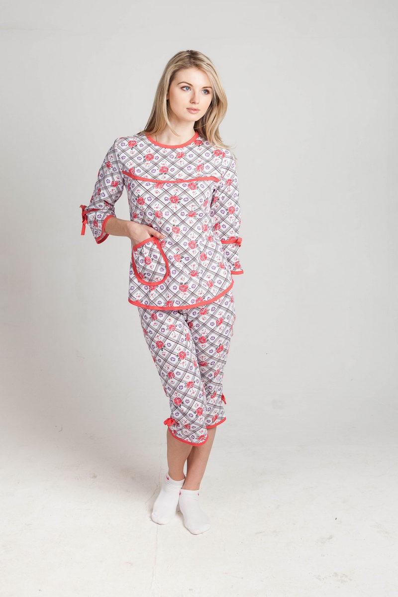 Пижама Катя Розочки кофта+бриджиДомашняя одежда<br><br><br>Размер: 50