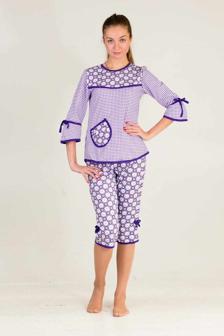 Пижама Катя Фиолет кофта+бриджиДомашняя одежда<br><br><br>Размер: 52