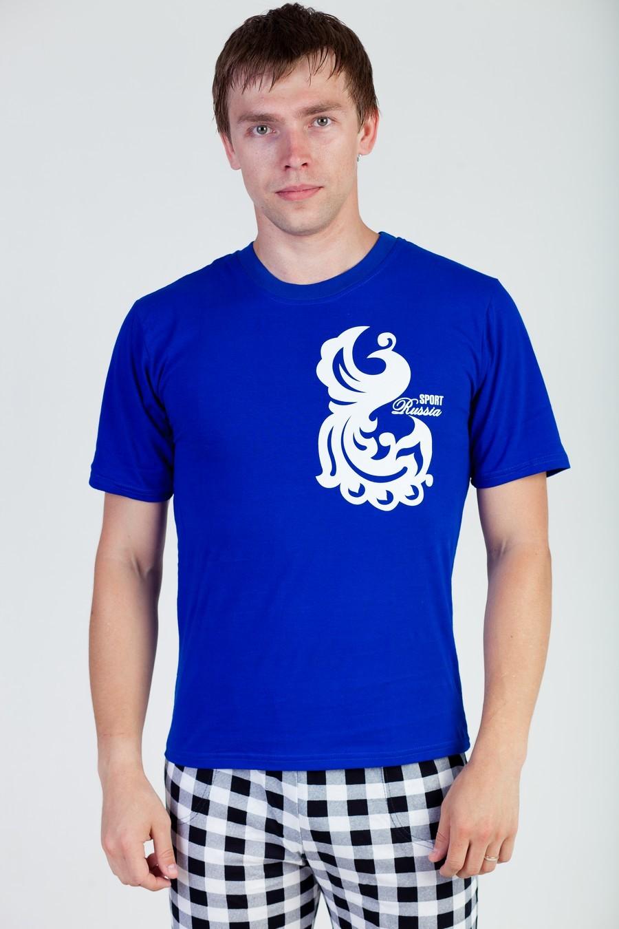 Футболка мужская Россия СпортФутболки<br><br><br>Размер: Голубой