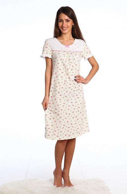 Сорочка женская Сирень с коротким рукавомСорочки<br><br><br>Размер: 50