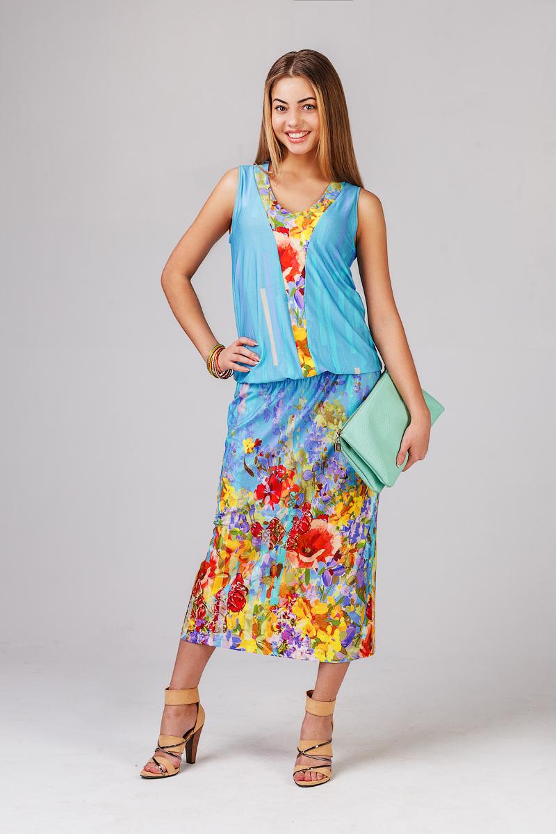 Платье женское Цветочный салютПлатья<br><br><br>Размер: 52