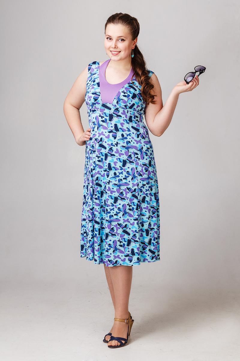 Платье Летние бабочкиПлатья<br><br><br>Размер: 48