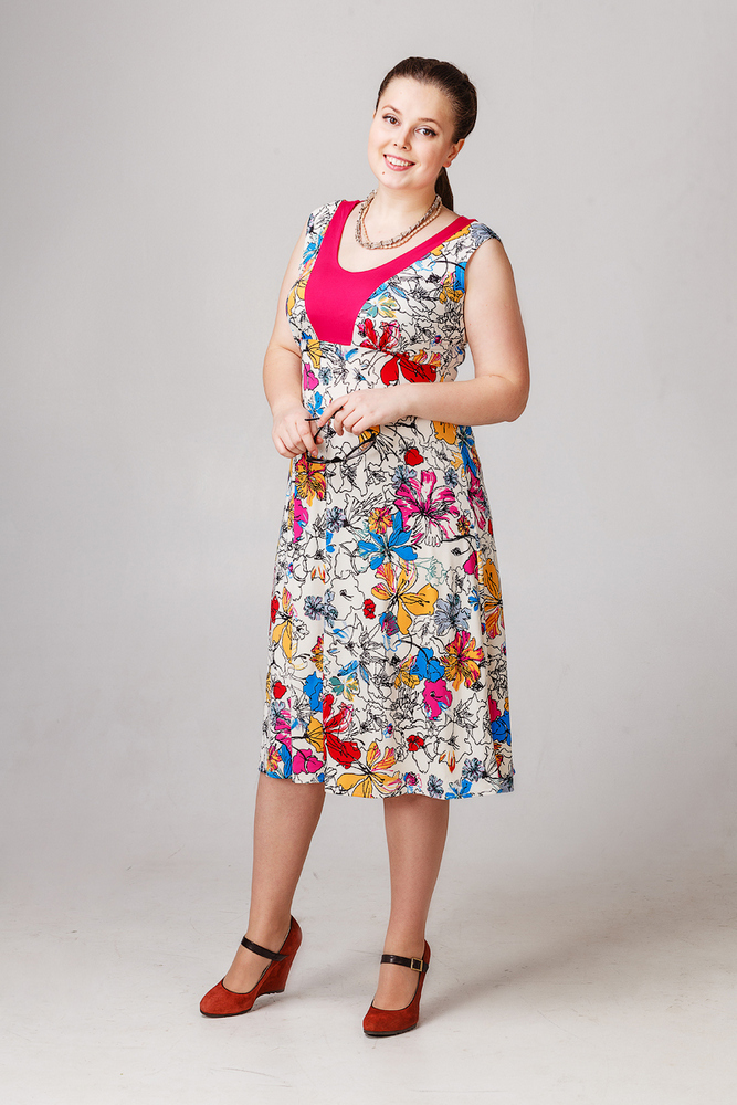 Платье Цветочный карнавалПлатья<br><br><br>Размер: 48