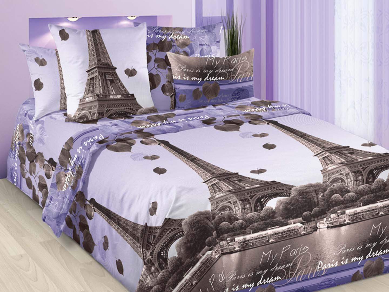 Комплект постельного белья Романтика Парижа<br><br>Размер: 2сп (2 нав.70х70)