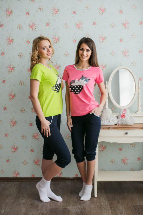 Костюм Уют (футболка + бриджи)Домашние комплекты, костюмы<br><br><br>Размер: розовый