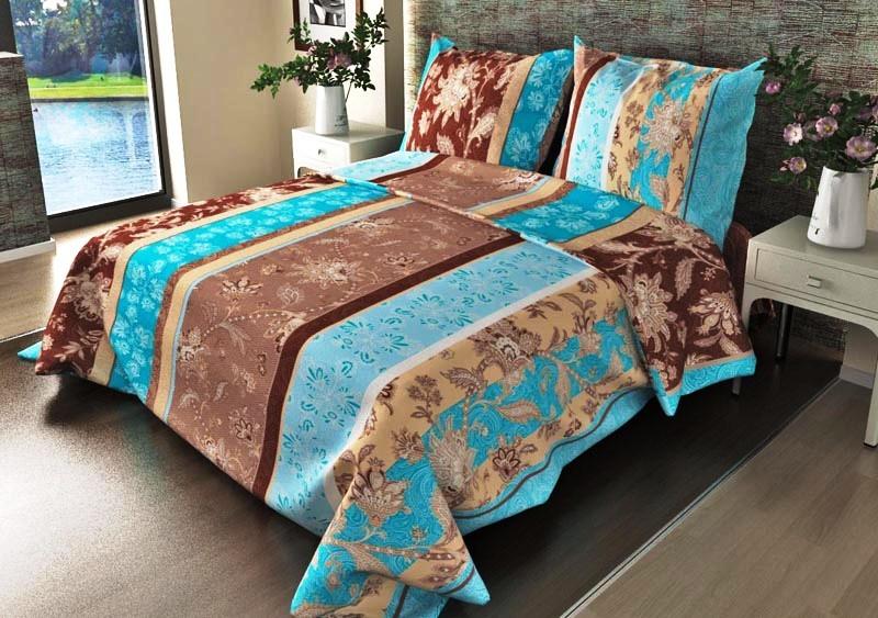 Комплект постельного белья Ажур голубойБязь<br><br><br>Размер: 2сп. (2нав. 70х70)