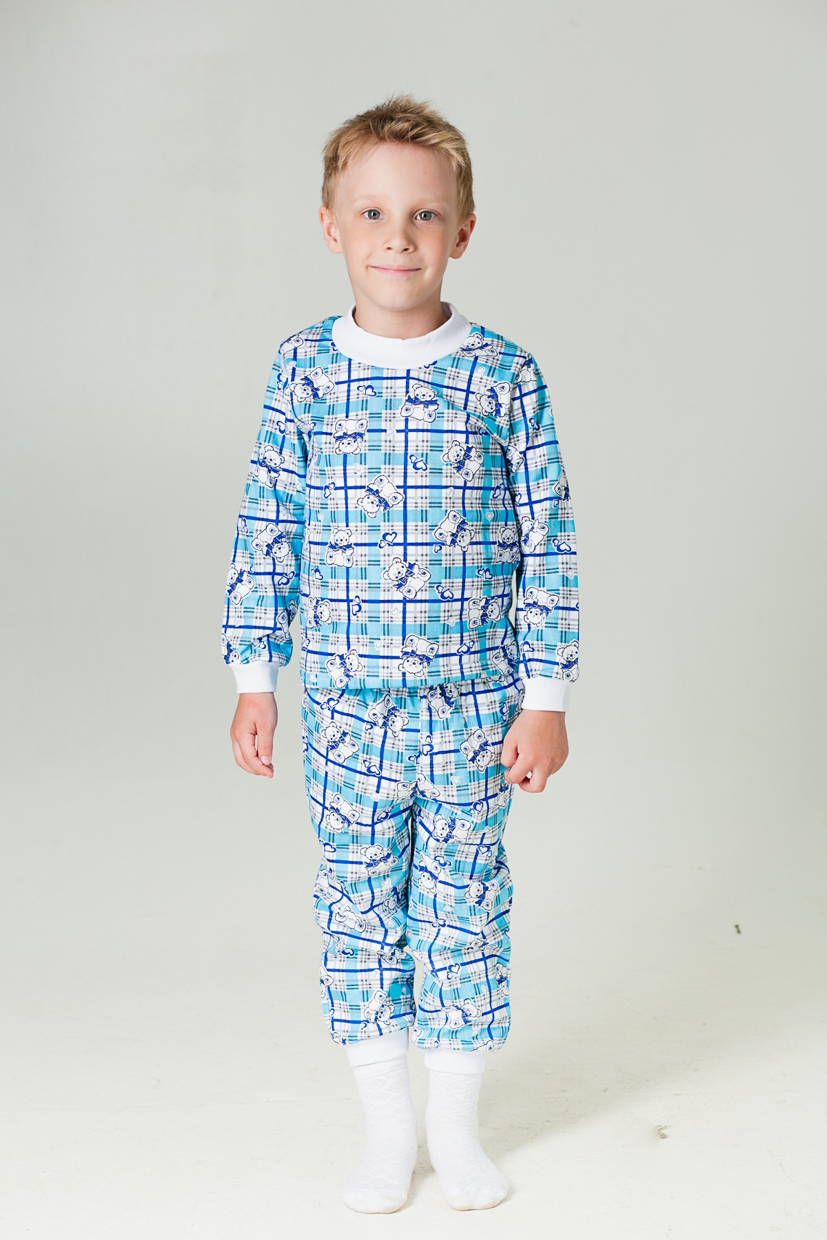 Пижама  детская Манжеты (футер)-МХалаты и пижамы<br><br><br>Размер: голубой