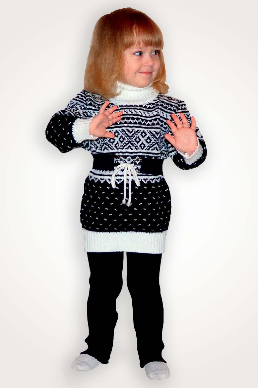 Комплект детский шерстяной Зимний (туника+рейтузы+пояс)Тёплый детский трикотаж<br><br><br>Размер: 98