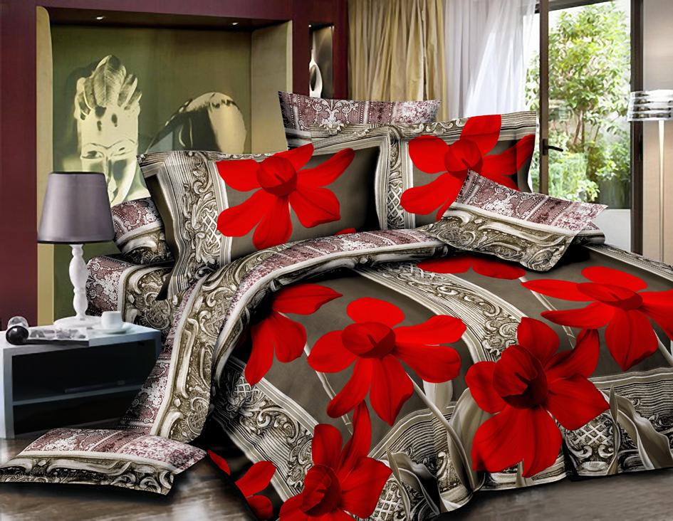 Постельное белье Красная ОрхидеяПолисатин<br><br><br>Размер: 2сп. (2 нав. 70х70)