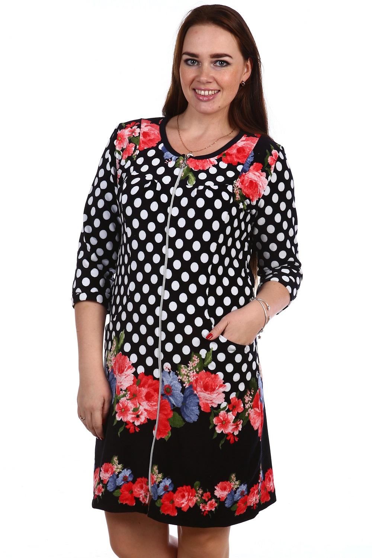 Халат женский Гретта на молнииДомашняя одежда<br><br><br>Размер: 50