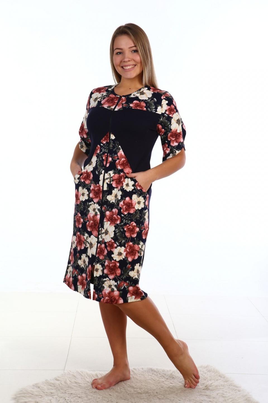 Халат женский Валенсия на молнииДомашняя одежда<br><br><br>Размер: 54