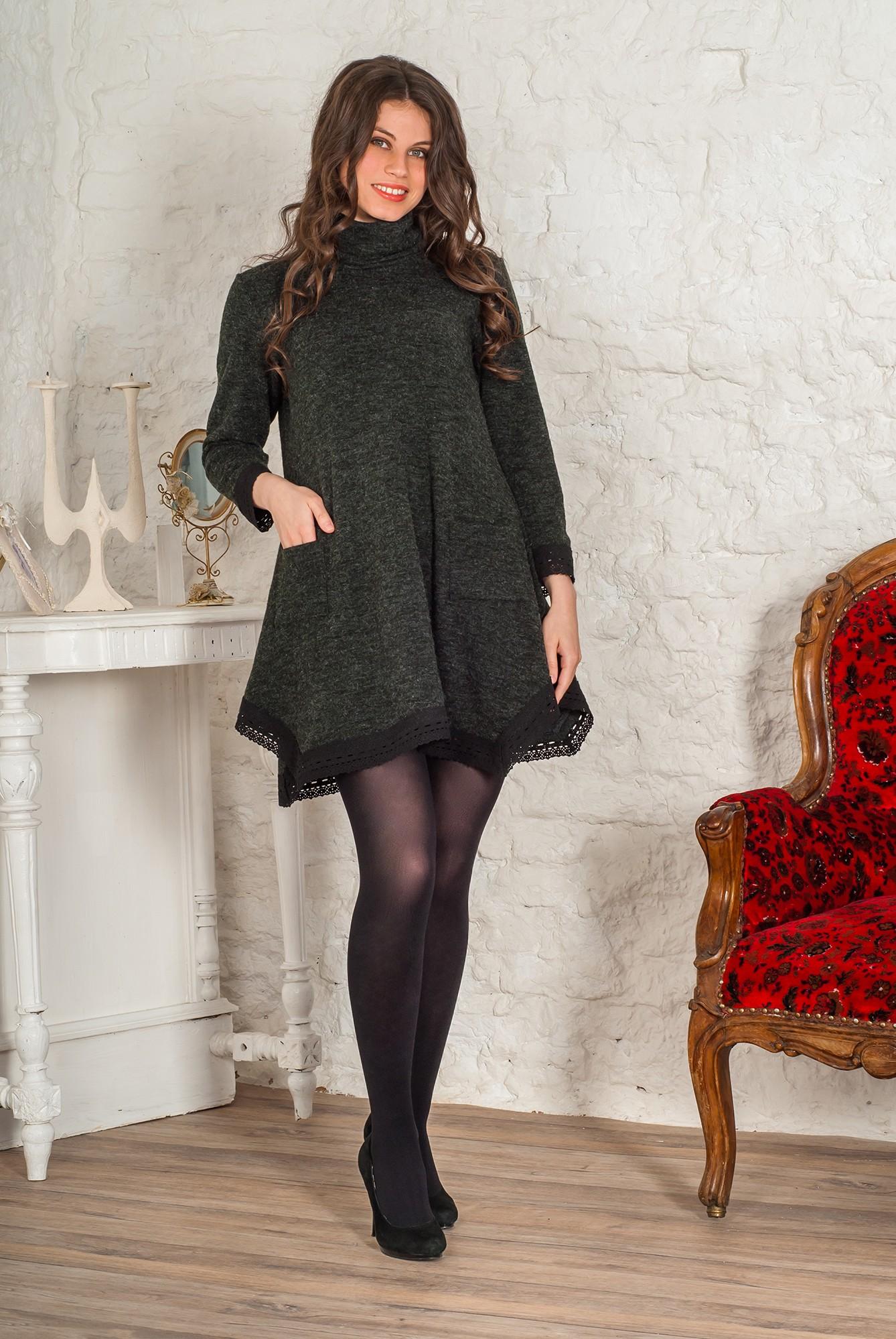 Платье женское Кассандра с воротником-стойкойКоллекция ОСЕНЬ-ЗИМА<br><br><br>Размер: 52