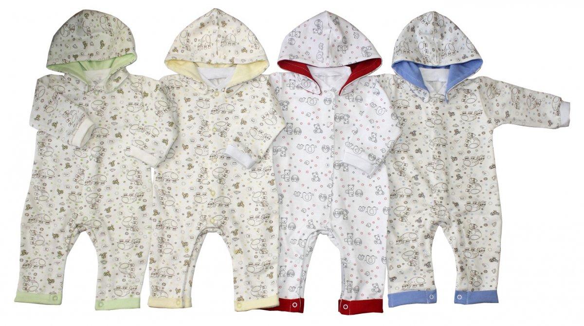 Комбинезон детский Карапуз с капюшономКомбинезоны и полукомбинезоны<br><br><br>Размер: Красный