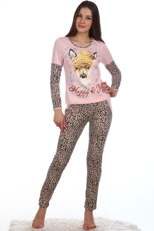 Домашний костюм Оленёнок кофта с длинным рукавом и узкие брюкиКоллекция ОСЕНЬ-ЗИМА<br><br><br>Размер: 44