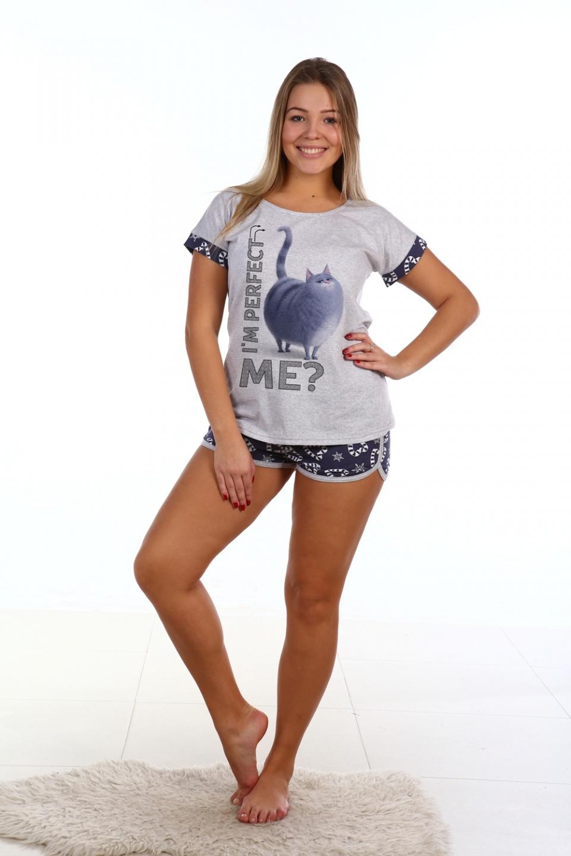 Пижама женская Нэко футболка и шортыДомашняя одежда<br><br><br>Размер: 48