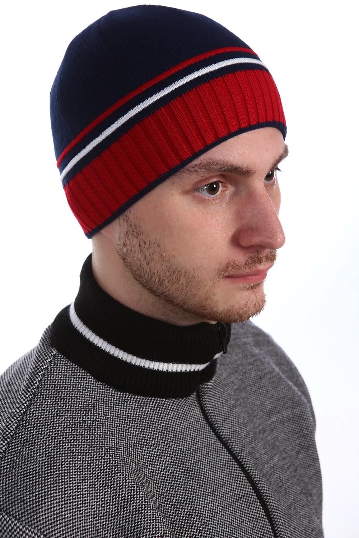 Шапка мужская Декабрь с подкладкой<br><br>Размер: Чёрный с красным