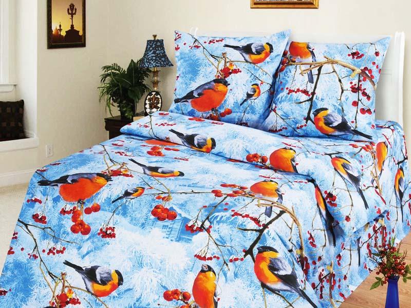 Снегири - комплект постельного белья из бязи (100% хлопок)Детское постельное белье<br><br><br>Размер: 1,5-спальный (Наволочки (2 шт.) - 70х70)