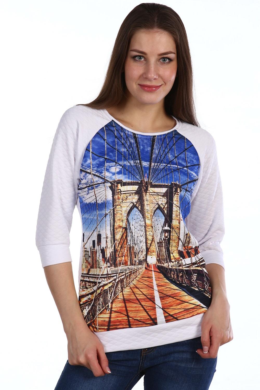 Толстовка женская Мост с круглым вырезомКоллекция ОСЕНЬ-ЗИМА<br><br><br>Размер: Принт с мостом