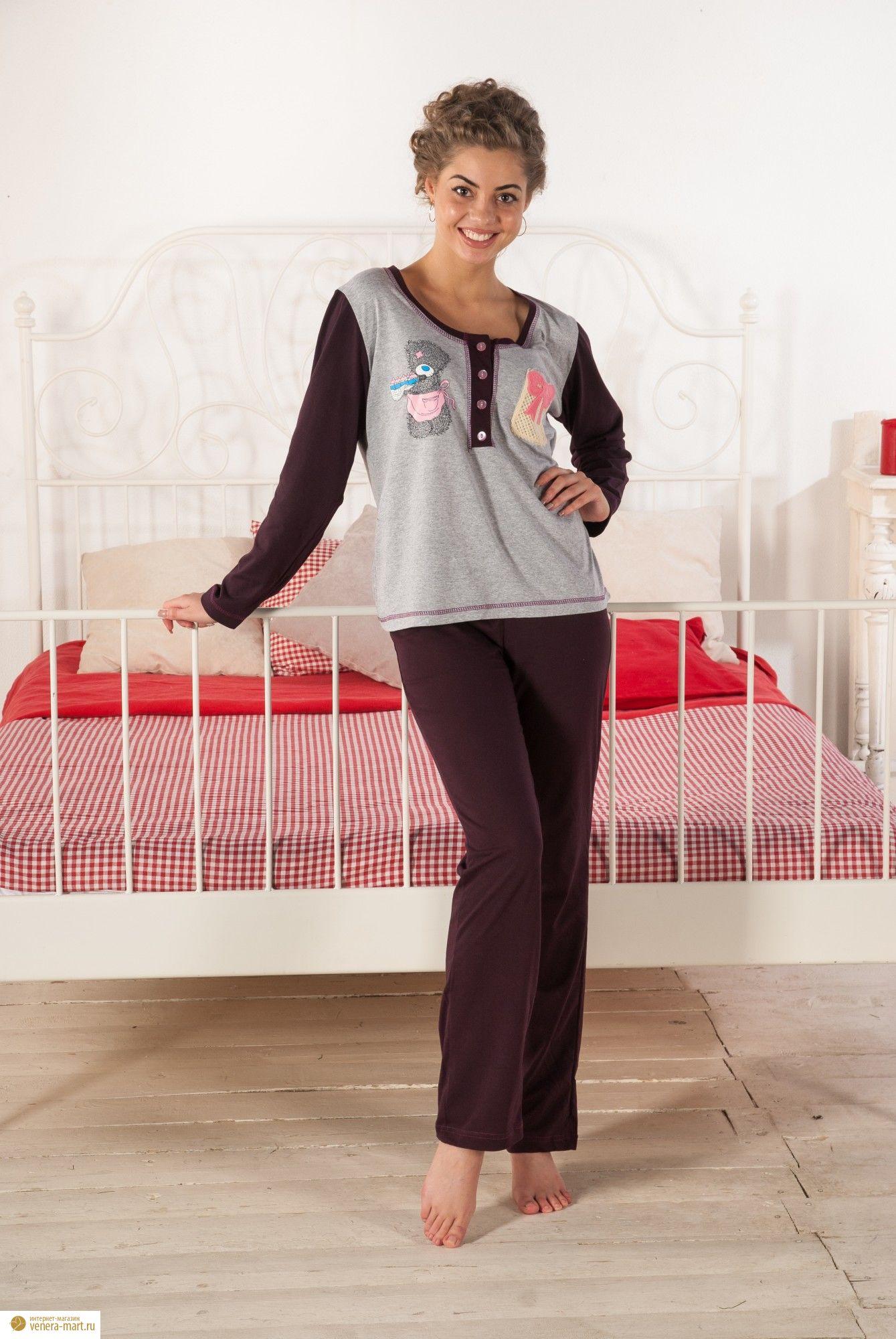 Костюм женский Тутси блуза с длинным рукавом и брюкиДомашняя одежда<br><br><br>Размер: 44