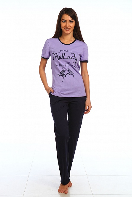 Комплект женский Мелодия футболка и брюкиДомашние комплекты, костюмы<br><br><br>Размер: Сиреневый