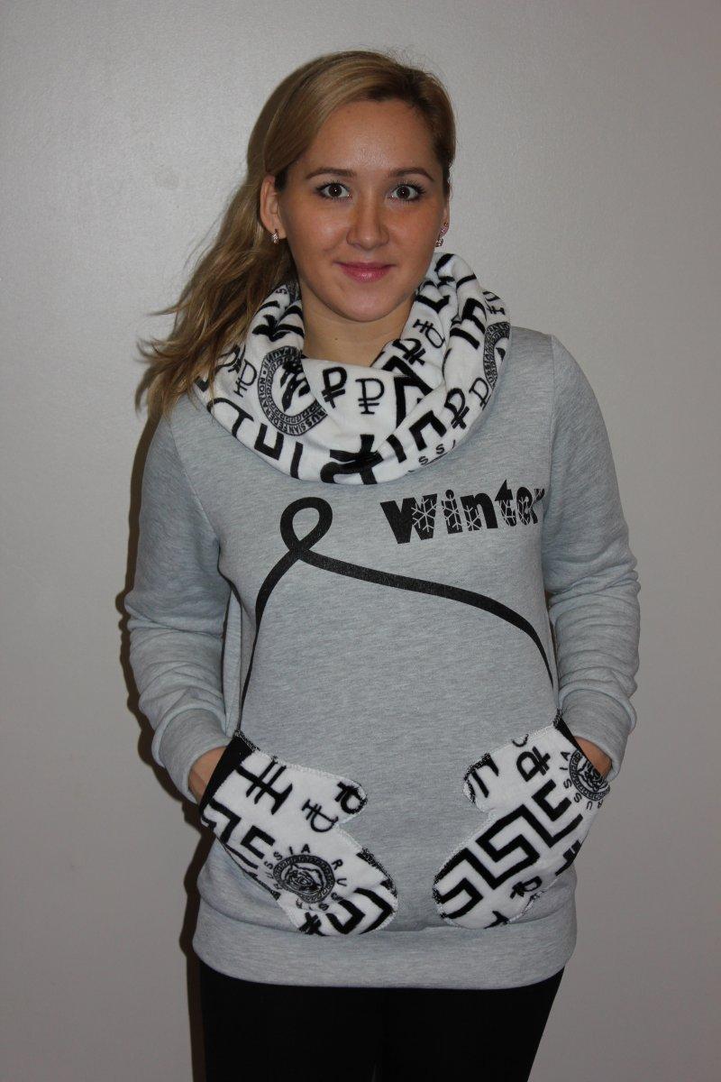 Толстовка женская Зима серая с белым воротником хомутКоллекция ОСЕНЬ-ЗИМА<br><br><br>Размер: 44
