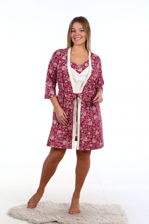 Комплект женский Цветущее сердце сорочка и халатКоллекция ОСЕНЬ-ЗИМА<br><br><br>Размер: 46