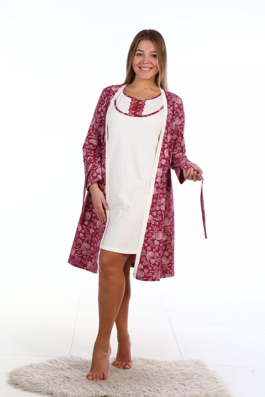 Комплект женский Романтика халат и сорочкаДомашние комплекты, костюмы<br><br><br>Размер: 48