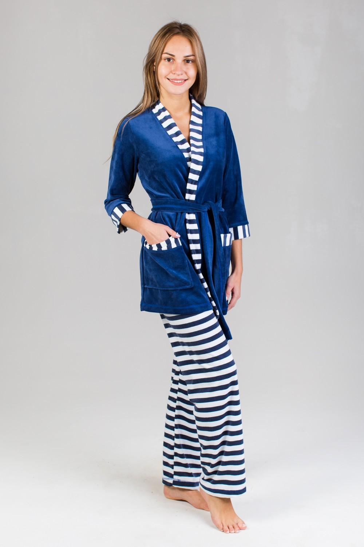 Костюм домашний женский Бэлла халат и брюкиКоллекция ОСЕНЬ-ЗИМА<br><br><br>Размер: 42