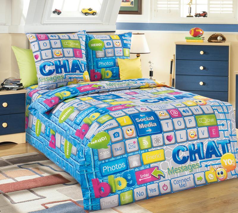 Комплект постельного белья Чат из бязиДетское постельное белье<br><br><br>Размер: 1.5сп (2 нав.70х70)