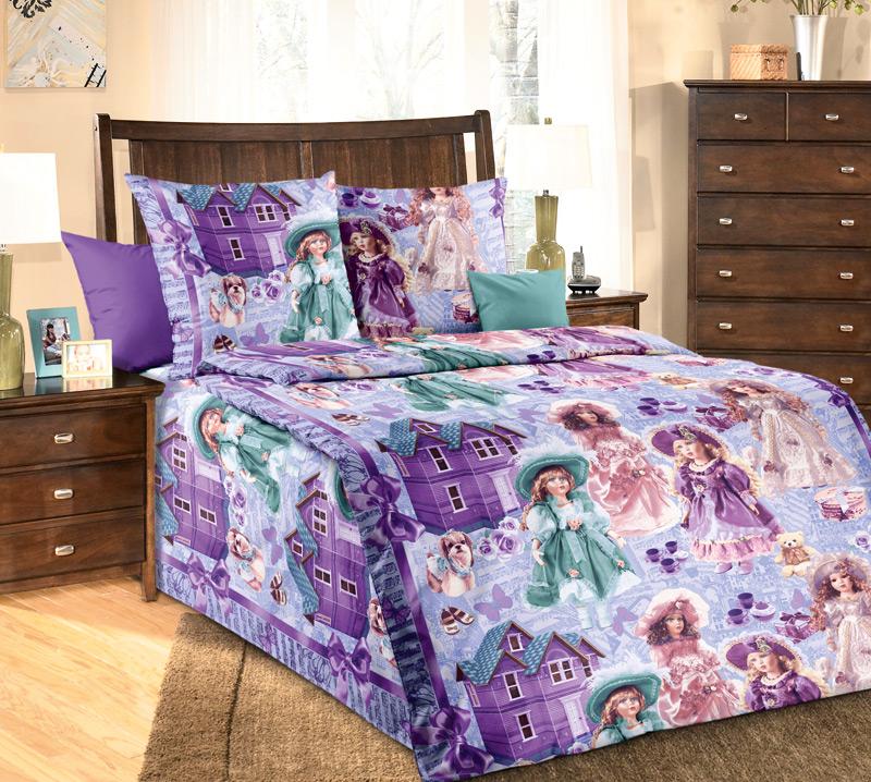 Комплект постельного белья Куклы 1 из бязиДетское постельное белье<br><br><br>Размер: 1.5сп (2 нав.70х70)