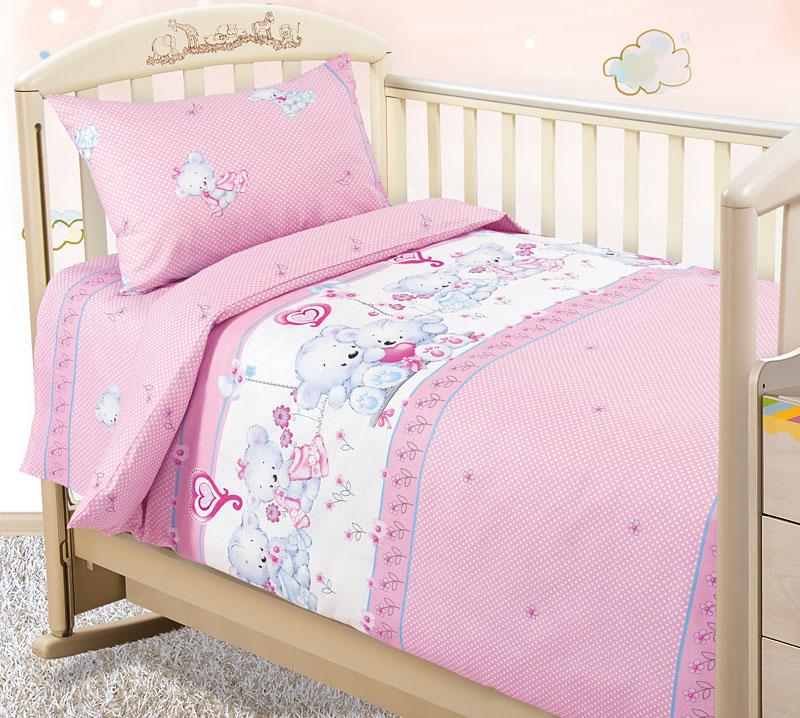Комплект постельного белья Нежность из бязиДетское постельное белье<br><br><br>Размер: Детский 112х147 (1 нав.40х60)