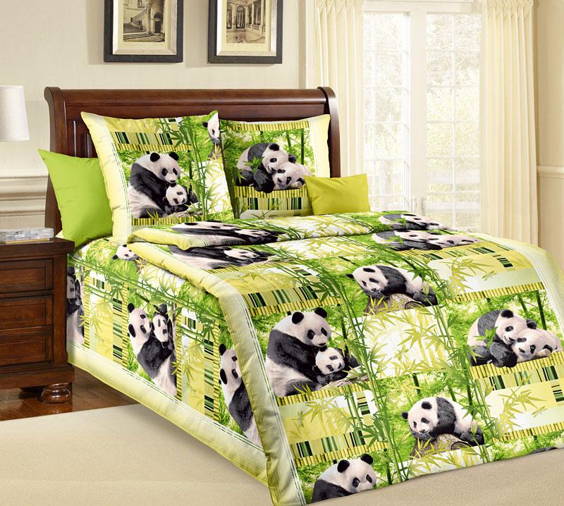 Комплект постельного белья Панды из бязиДетское постельное белье<br><br><br>Размер: 1.5сп (2 нав.70х70)
