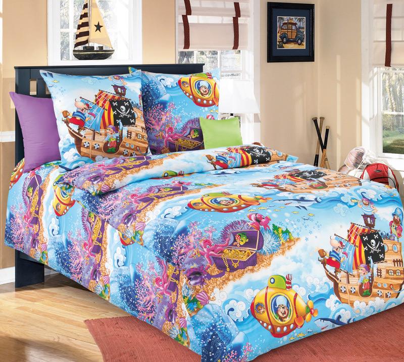 Комплект постельного белья Пираты 1 из бязиДетское постельное белье<br><br><br>Размер: 1.5сп (2 нав.70х70)