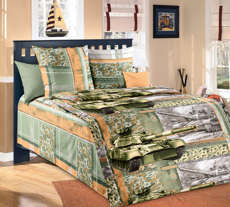 Комплект постельного белья Танк из бязиДетское постельное белье<br><br><br>Размер: 1.5сп (2 нав.70х70)