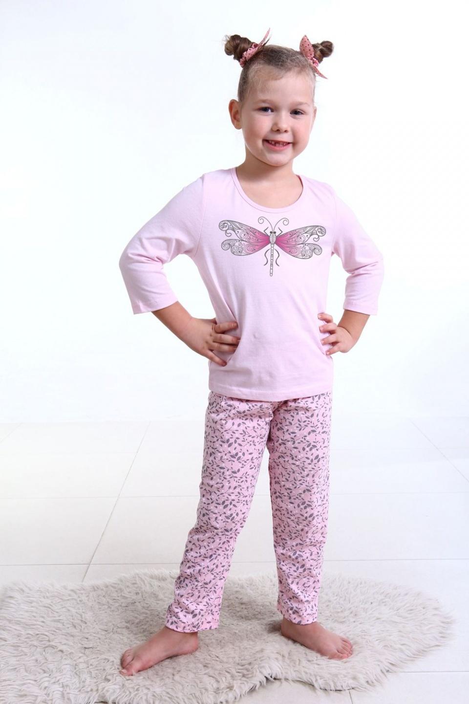 Пижама детская для девочки Стрекоза футболка и брюкиСемья<br><br><br>Размер: 34 (рост 134 см)