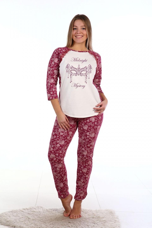 Пижама женская Полуночная тайна блуза и брюкиКоллекция ОСЕНЬ-ЗИМА<br><br><br>Размер: 54
