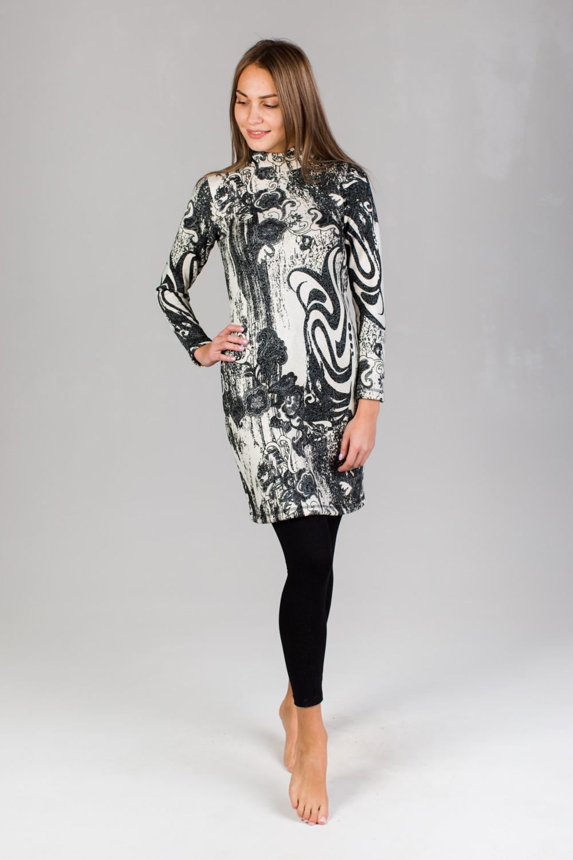 Платье женское Адриана с воротником-стойкойПлатья<br><br><br>Размер: 52