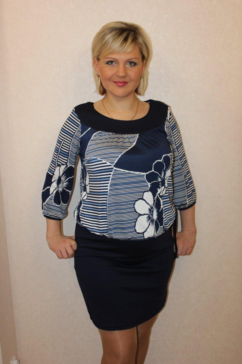 Платье женское Таврия с круглым вырезомКоллекция ОСЕНЬ-ЗИМА<br><br><br>Размер: 54