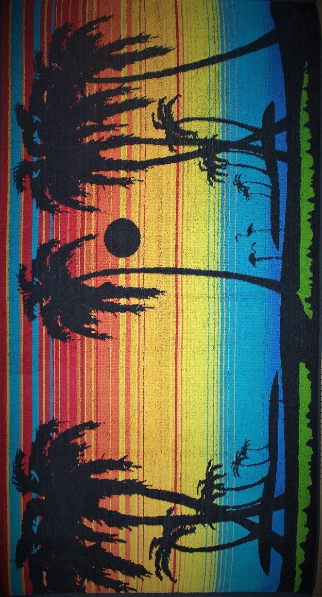 Полотенце махровое жаккардовое Южная ночь банноеДля бани и сауны<br><br><br>Размер: Пальмы