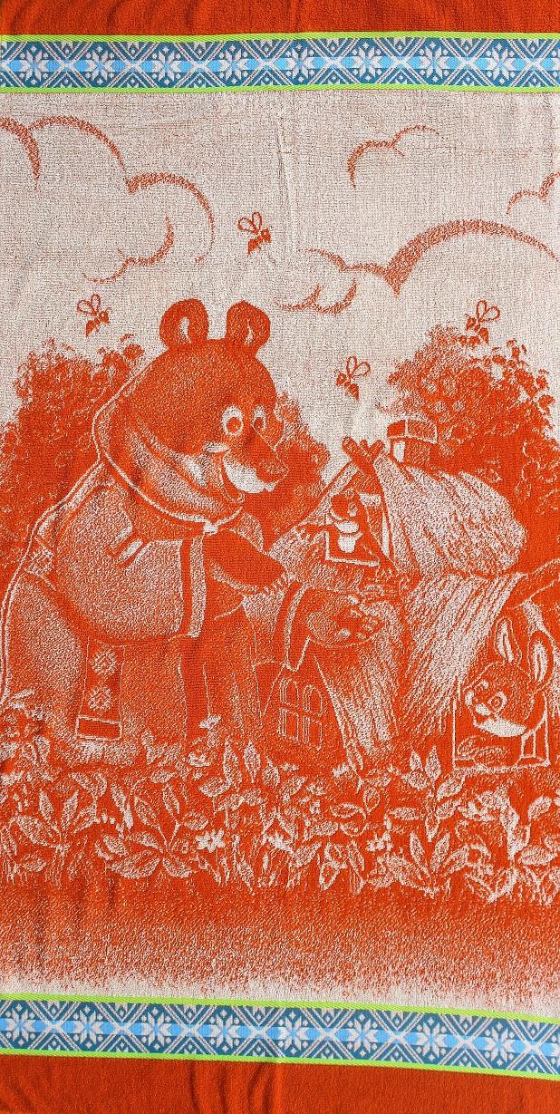 Полотенце махровое жаккардовое Теремок банноеДля бани и сауны<br><br><br>Размер: Красный (Лиса и колобок)