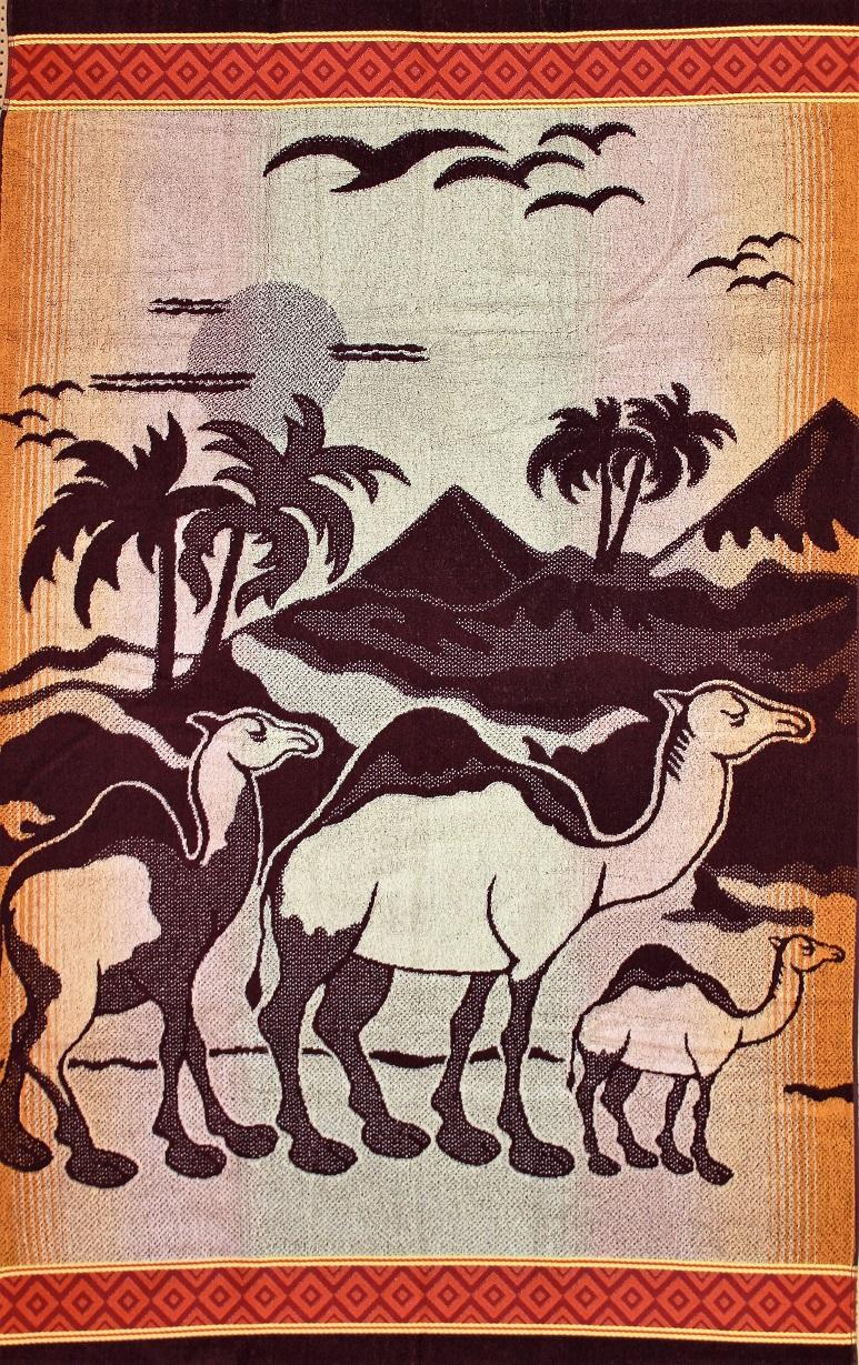 Полотенце махровое жаккардовое ВерблюдыДля бани и сауны<br><br><br>Размер: 100х160 см