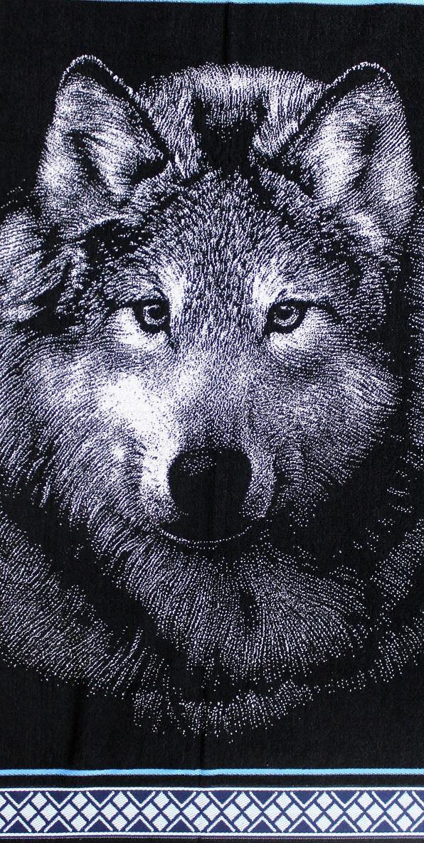 Полотенце махровое жаккардовое Волк 3D банноеПодарки к 23 февраля<br><br><br>Размер: Светло-серый