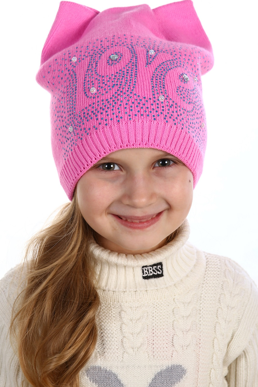 Шапка детская Love для девочкиКоллекция ОСЕНЬ-ЗИМА<br><br><br>Размер: Персиковый