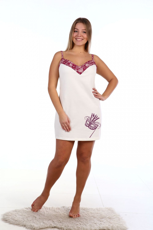Сорочка женская Маска на тонких бретеляхДомашняя одежда<br><br><br>Размер: 54